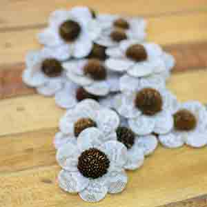 Burlap and Lace Zinnia Flowers