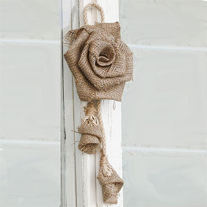 Hanging Burlap Rose with Branches