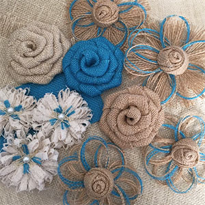 Assorted Burlap Flowers with Accent Color