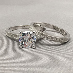 1.00 Carat Brilliant Cut Round CZ Solitaire with Eternity Band Bridal Set