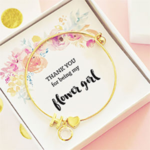 18K Personalized Flower Girl Bracelet with Initial