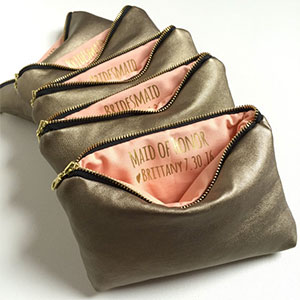 Gold Custom Message Makeup Bags