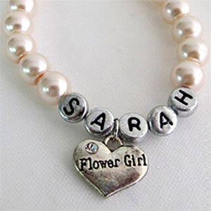 Personalized Flower Girl Name Bracelet