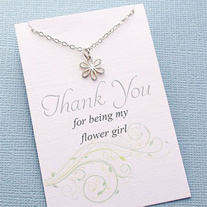 Daisy Flower Girl Thank You Necklace
