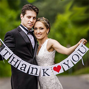 Thank you banner wedding prop