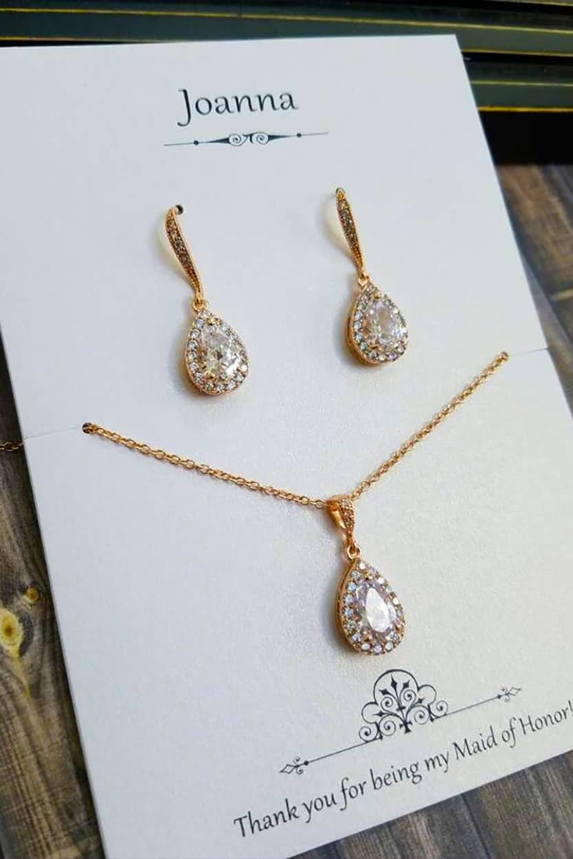 Bridesmaids Jewelry Set Crystal Teardrop Earrings and Necklace