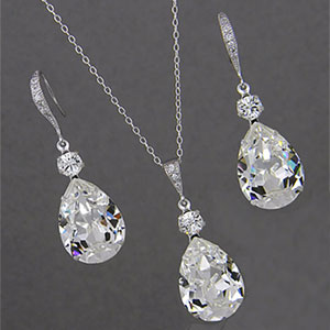 Crystal Drop Wedding Set