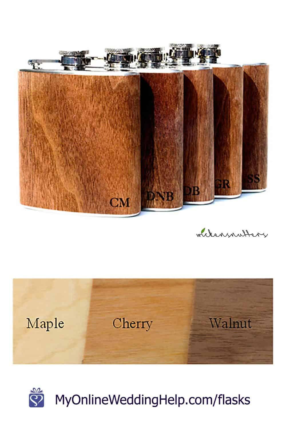 Personalized flask for groomsmen or wedding party. 6 oz. real wood flask. Sealed maple, cherry or walnut.