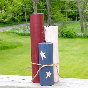 Wooden Patriotic Candle Decoration