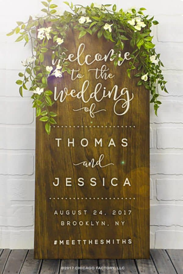 Rustic wooden wedding sign for reception entrance or wedding ceremony #WeddingSigns #RusticWedding #MyOnlineWeddingHelp