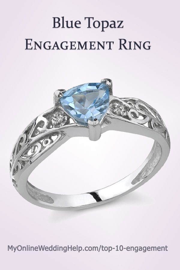 Blue Topaz Engagement Ring | Blue Topaz and Diamond Engagement Ring. Solid 14K white gold. #GemstoneEngagement #MyOnlineWeddingHelp #EngagementRing #BlueEngagementRing