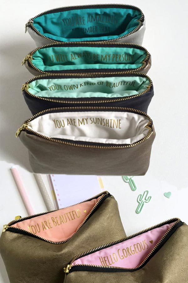 Bridesmaid gift idea for wedding. Zippered makeup bag is made from faux vegan leather. Use as a clutch or as a make up bag. The inside has a cotton lining, where Sandra will write up to 10 words to each of your bridesmaids and maid of honor. Give the gift at the bachelorette or other event before the wedding so you all can use these while getting ready. #veganleatherclutch #bridesmaidsgift #myonlineweddinghelp #makeupbag