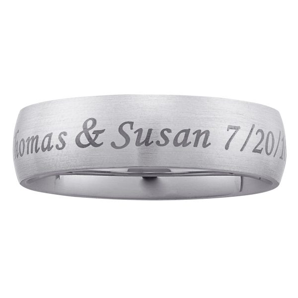 Brushed Stainless Steel Top-Engraved Wide Wedding Band