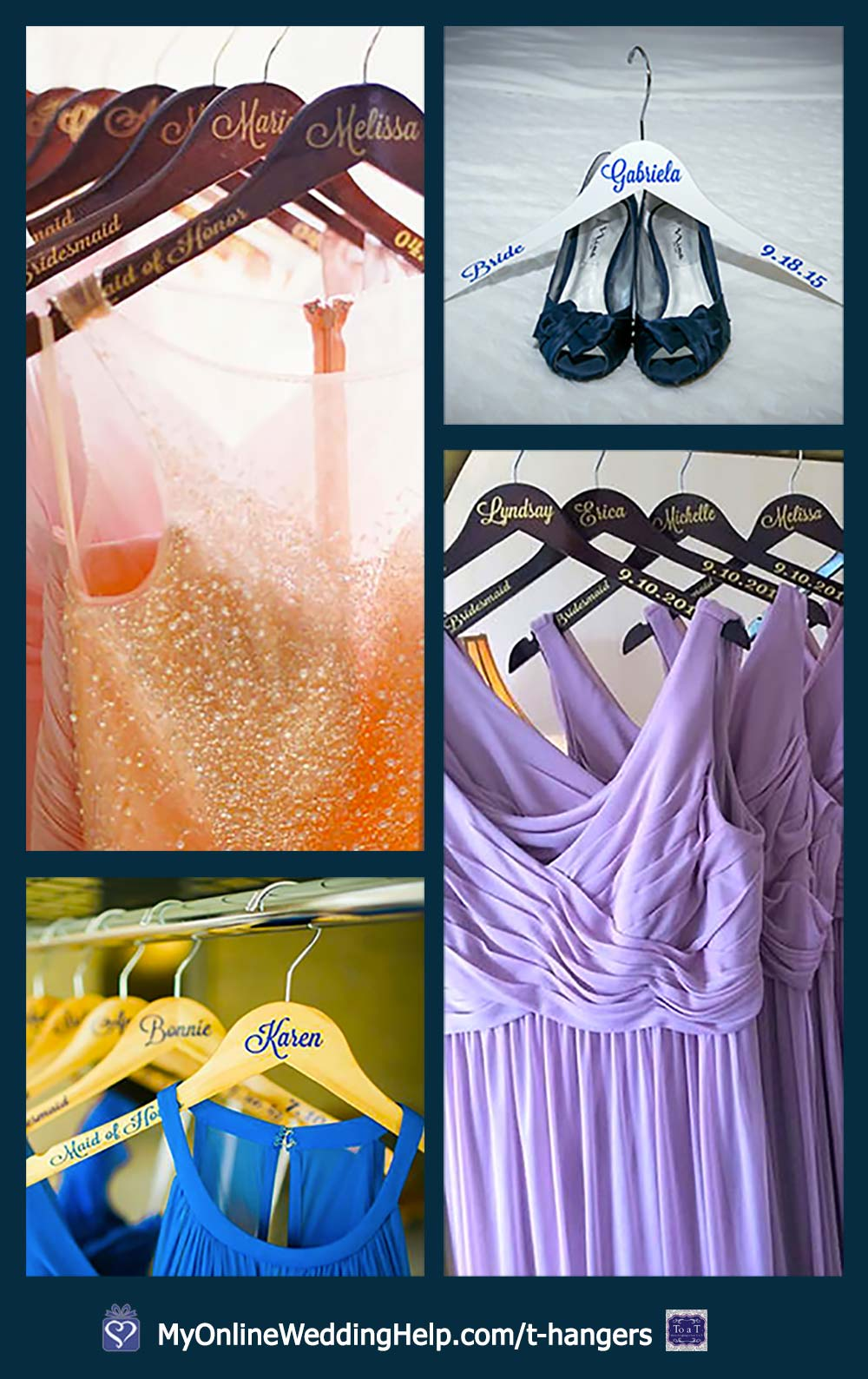 Personalized wedding hangers for bridesmaids and wedding party.