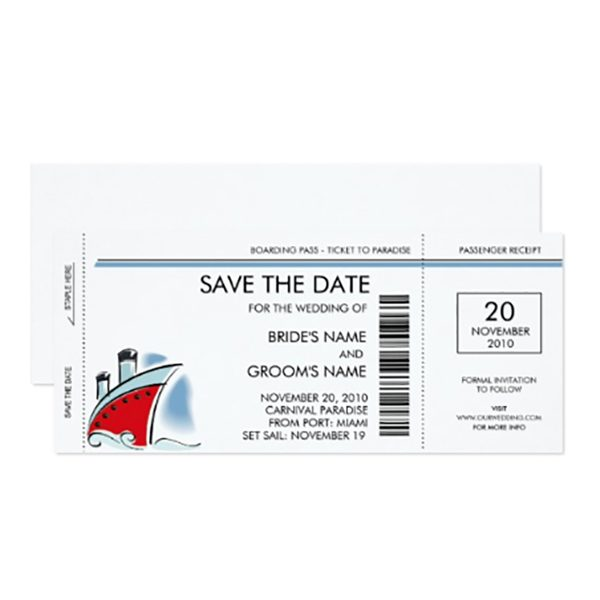 Cute idea for cruise ship wedding invitations. A ticket as the save the date or invite! Customize all the text on this boarding pass, including destinations, to work as a wedding invitation or as an announcement for guests to mark their calendars. Look for it as one of the first four listings on the page. Buy or get more info. #MyOnlineWeddingHelp #DestinationWedding #CruiseShipWedding #WeddingInvitations #SavetheDates