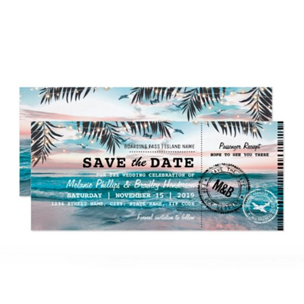 "Your beach wedding deserves a theme from the time the guests first hear about it. Send a boarding pass invitation or save the date. This one can be either (just go to ""further customization"" when you order). Look for this invite as one of the first four listings on the page. #MyOnlineWeddingHelp #BeachWedding #BoardingPassInvite #SavetheDate #DestinationWedding"