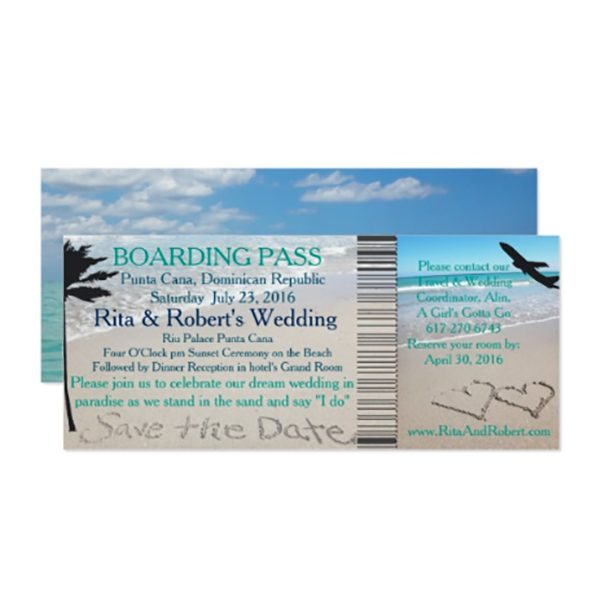 Don't freak out about your tropical wedding save the dates. Here's a cute idea: send your guests announcements shaped like airplane boarding passes. You can personalized any of the wording on this one. Look for it as one of the first four listings on the page, where you can get more info or order. #MyOnlineWeddingHelp #TropicalWedding #BeachWedding #DestinationWedding #SavetheDate