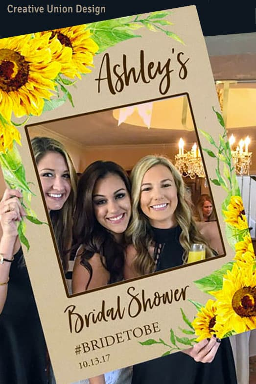 DIY photo prop frame for wedding or shower. Roberta sells this sunflower design file along with instructions and a video tutorial for making your your own photo prop frame. Get an instand download. Learn more or buy in the My Online Wedding Help products section. $9.99