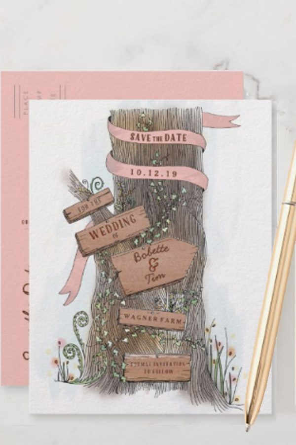 The rustic wood in this save the date wedding invitation is a tree! I love the wooden wedding signs nailed to it as well. Cute for any type of country or farm / barn wedding. Becky did a wonderful illustration job. Look for it as the first or second by link on the page. #RusticThemeWedding #MyOnlineWeddingHelp #RusticWeddingInvitations #WeddingInvitations #SavetheDates