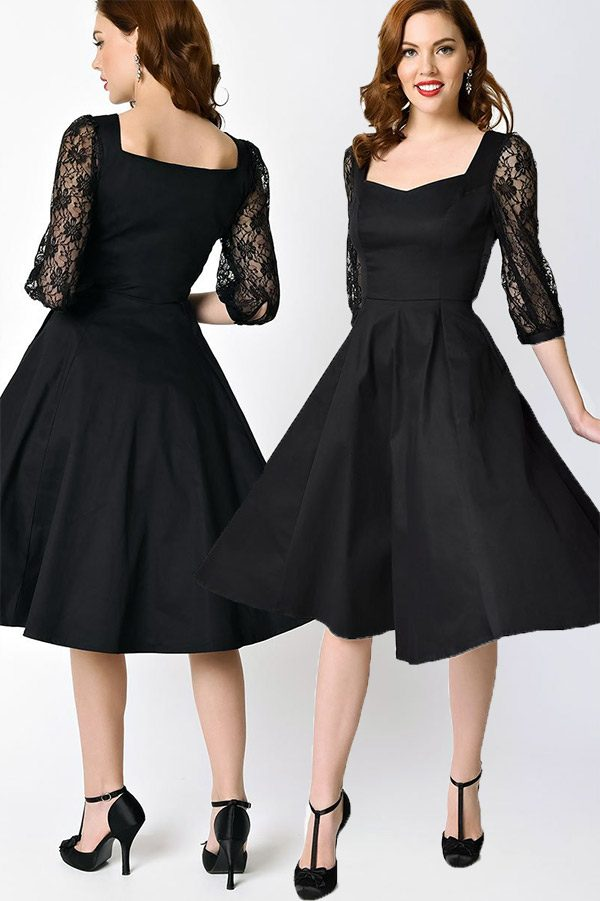 The little black dress (LBD) in a-line swing style. I love the lace sleeves. Very cute as a wedding guest outfit or cocktail dress. Look for it as the first or second buy listing on the page. In the My Online Wedding Help products section. #SpecialOccasionDresses #WeddingGuestDress #LittleBlackDress #MyOnlineWeddingHelp #LaceDresses #ALineDress #WomensDresses #BlackDresses