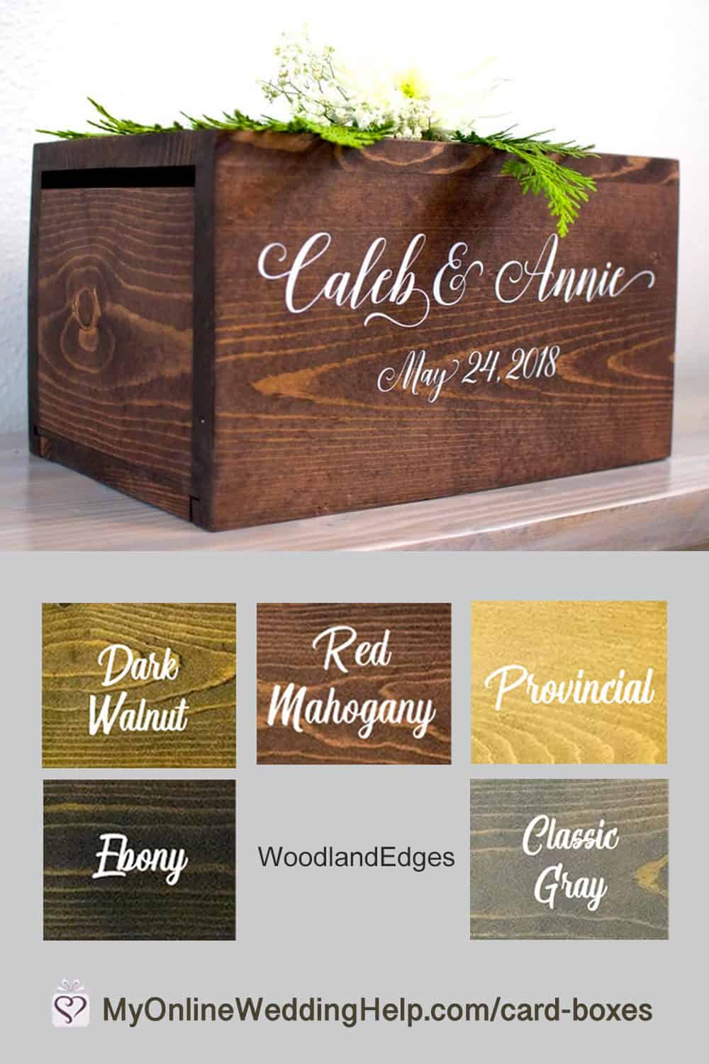 Rustic wedding card box. Choice of five stains.