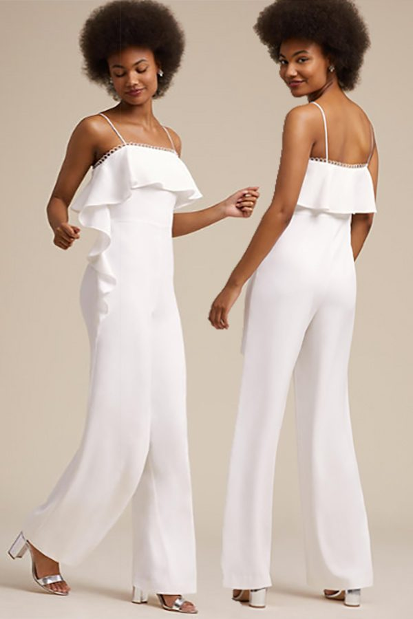 Nontraditional wedding dress alternative: Pants! This bridal jumpsuit features ruffles at the bodice. #MyOnlineWeddingHelp