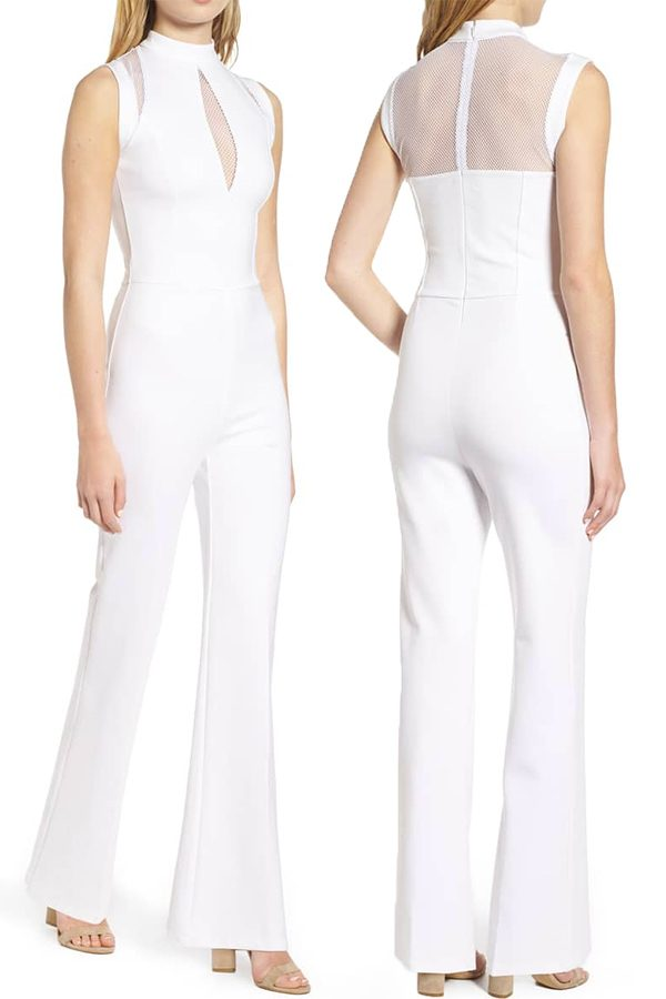 Sleek white wedding jumpsuit with keyhole front and mesh back panel. #MyOnlineWeddingHelp