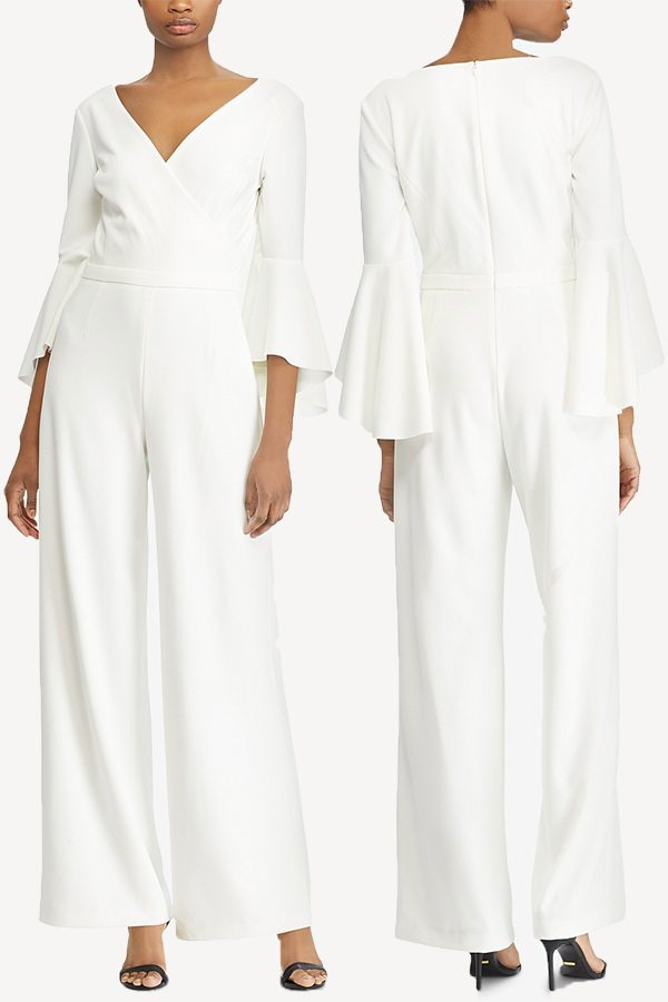 Cream bell sleeve jumpsuit. #MyOnlineWeddingHelp
