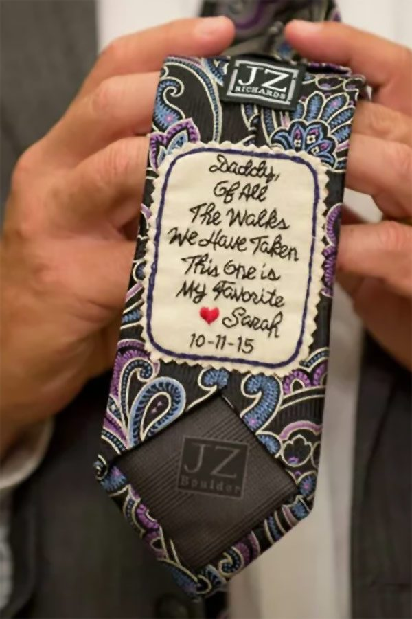 Custom Dad's tie patch. Personalize it with any 12 words for FOB, FOG, or a special gift to any father. Hand embroidered by Rebecca. $60.00 Buy it in the My Online Wedding Help products section. #MyOnlineWeddingHelp #TiePatches #DadsGift