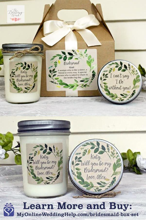 This rustic bridesmaid proposal box is under $20! It's a relaxation gift set to help the maids de-stress before the wedding. Monika will print any message you want on the soy candle jar, sugar scrub lid, and box label. Learn more or buy via the first buy listing on the page. In the My Online Wedding Help products section. #MyOnlineWeddingHelp #BridesmaidProposal #BridesmaidBox #BridesmaidGift