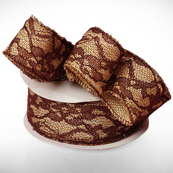 """1 1/2"""" X 10 Yards Brown Floral Lace Burlap Ribbon by Ribbons.com"""