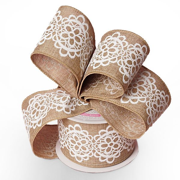 "2 1/2"" X 10 Yards Natural/White Lace Burlap Ribbon by Ribbons.com"