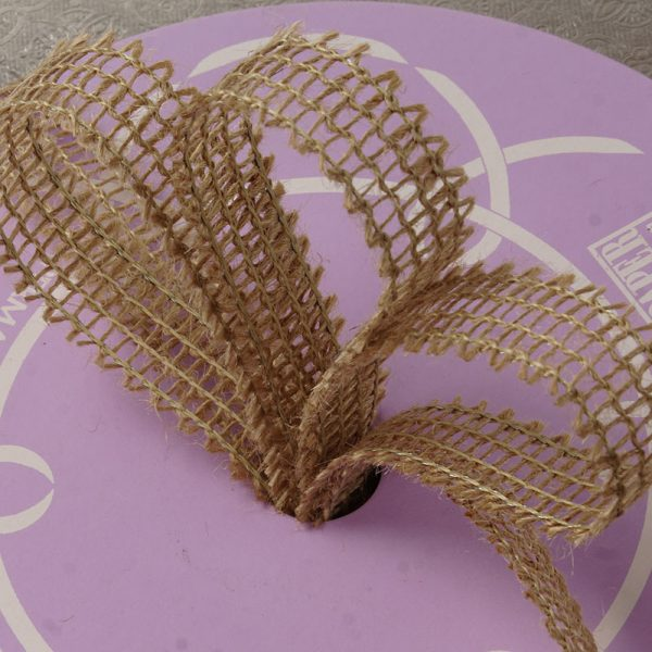 "7/8"" X 25 Yards Mesh Natural Wired Burlap Ribbon by Ribbons.com"