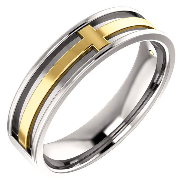 14K Two-Tone Gold Inset Cross Wedding Band Ring