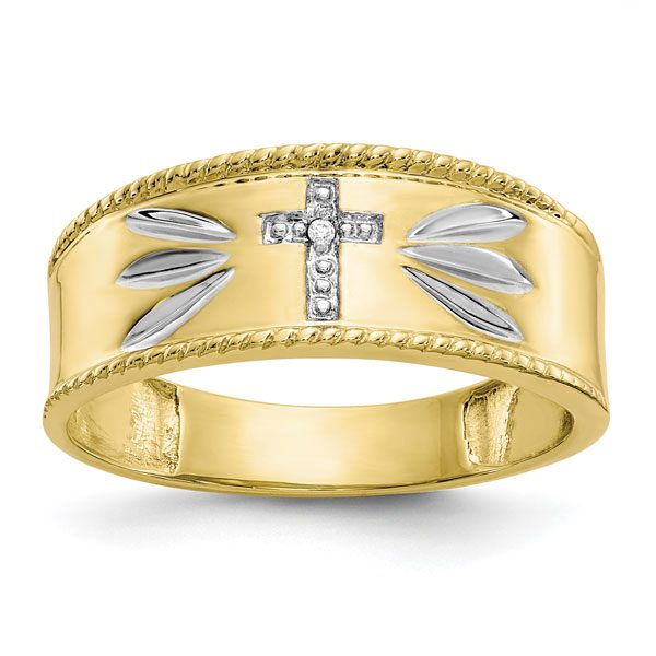 10K Gold Men's Diamond Accent Cross Wedding Band Ring