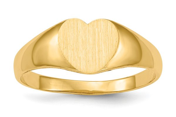 14K Gold Heart Signet Initial Ring with Brushed Finish