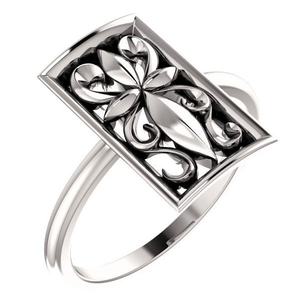 Vintage-Inspired Paisley Cross Ring in Sterling Silver