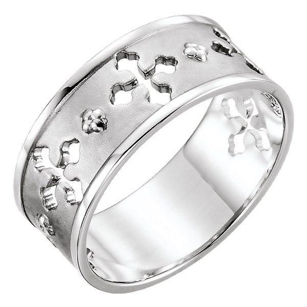 14K White Gold Ancient of Days Pierced Cross Ring