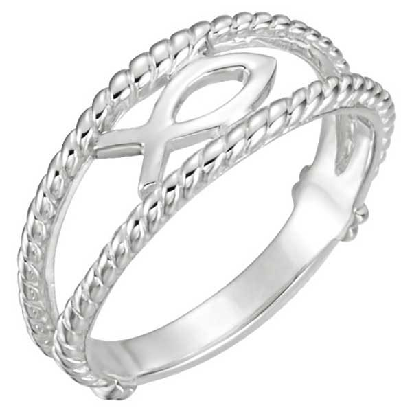 Ichthus Fish Chastity Ring for Women, 14K White Gold