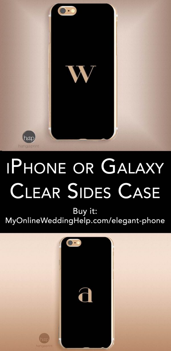 Cool elegant phone case for the guys (and gals!) It has a single initial monogram on a sleek black background. Great groomsmen gift idea, or give to others in the wedding party. Learn more or buy through the first listing on the page. Choose your model iPhone, Samsung Galaxy, or Edge. $22.69 #MyOnlineWeddingHelp #PhoneCase #GroomsmenGift