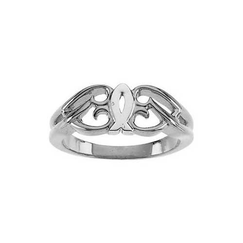 Sterling Silver Christian Ichthus Heart Ring