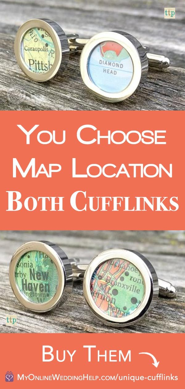 Unique custom cufflinks make wonderful groomsmen gifts. Linsey uses vintage maps to create these. The location is 100% personalizable. $24.00 each pair. Learn more or buy through the first listing on the page. In the My Online Wedding Help products section. #MyOnlineWeddingHelp #UniqueCufflinks #GroomsmenGifts