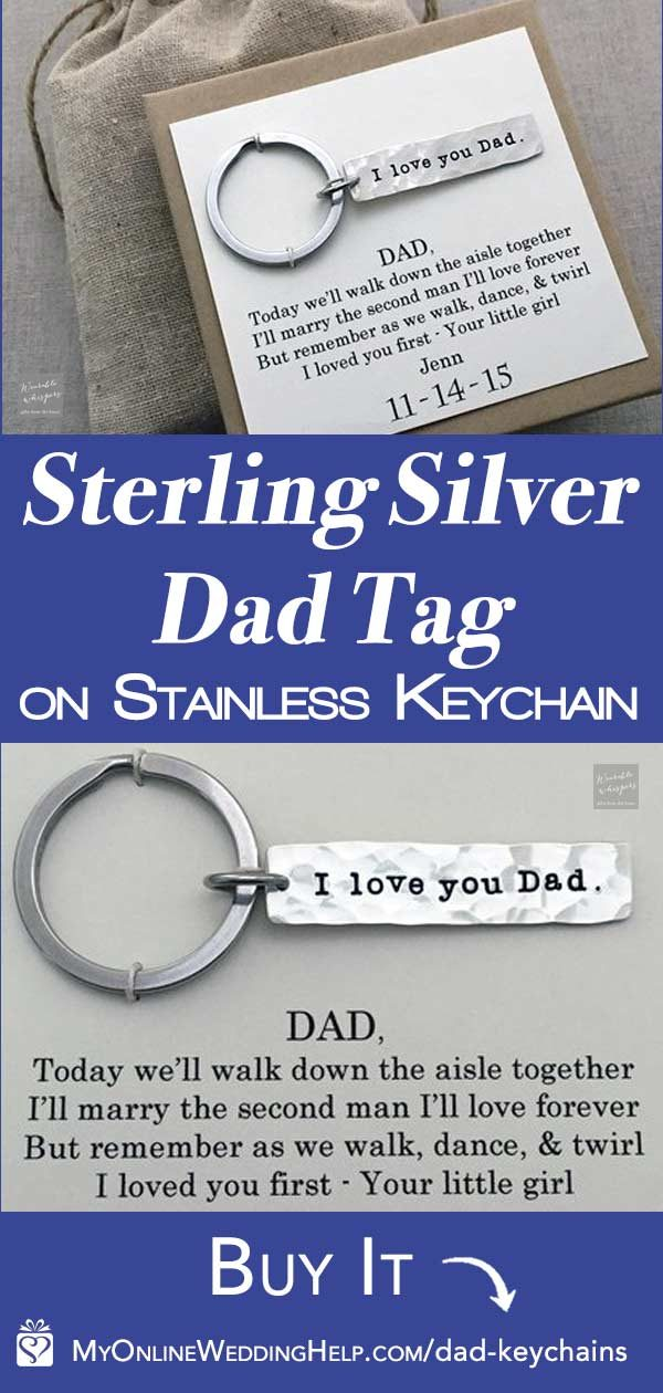 $31.00 sentimental father of the bride gift keychain. The I loved you first poem, written by Natalie, is printed on an enclosed card with the daughter's name and wedding date. She includes a gift bag, too. Learn more or buy through the first listing on the page. #MyOnlineWeddingHelp #FatherGift #FatherofBride