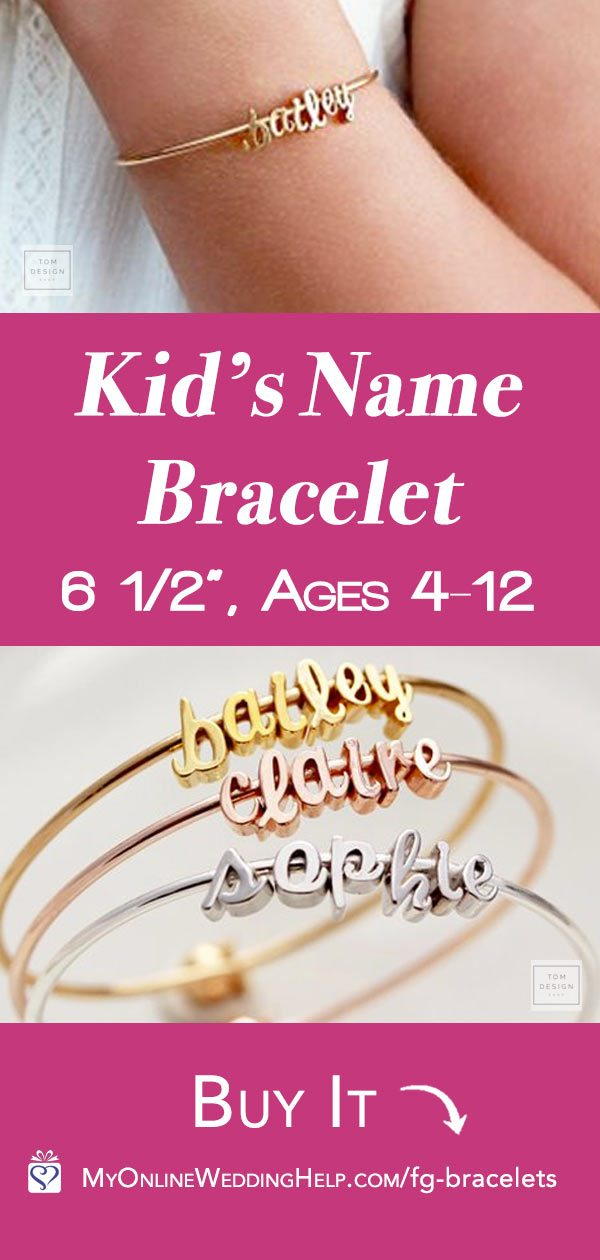 This cute kid's name bracelet is adorable for a flower girl gift. 29.00 for six-letter name. Learn more or buy through the first listing on the page. In the My Online Wedding Help products section. Debbie has other gift jewelry in her shop, too, if you wanted to go with a necklace.