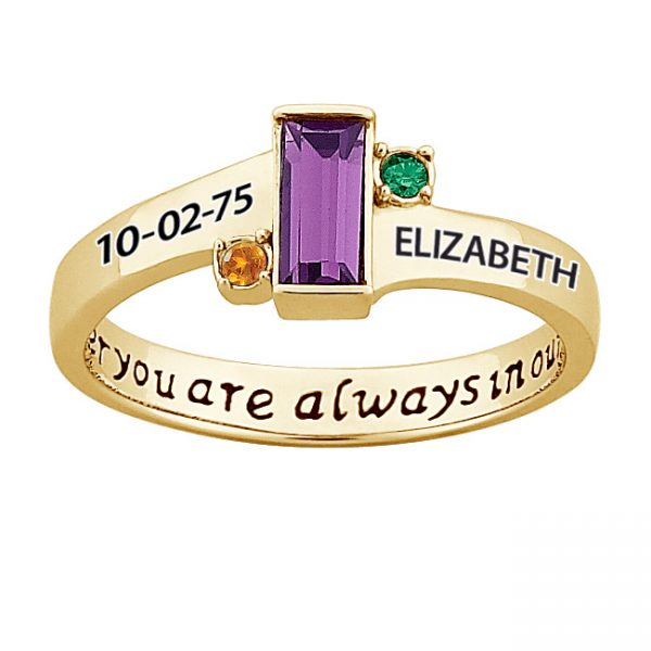 Gold over Sterling Always in our hearts Daughter's Birthstone & Name Ring