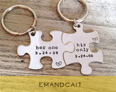 Her One, His Only, Couples Key Chain set, Puzzle Piece Keychain Set, Anniversary Gift, Wedding Present, Gay Couples Gift