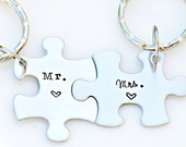 His and Hers Keychains Couples Keychain Puzzle Piece Keychain Set Hand Stamped Mr. and Mrs. Keychains Wedding Anniversary Gift