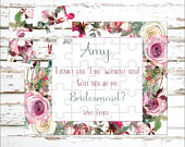 Personalized Bridesmaid Puzzle Puzzle Proposal Asking Bridesmaid Wedding Announcement Ideas P0135