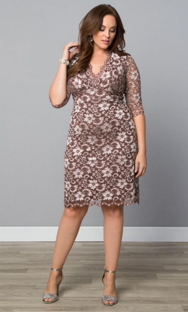 Kiyonna Womens Plus Size Scalloped Boudoir Lace Dress-Sale! Cafe