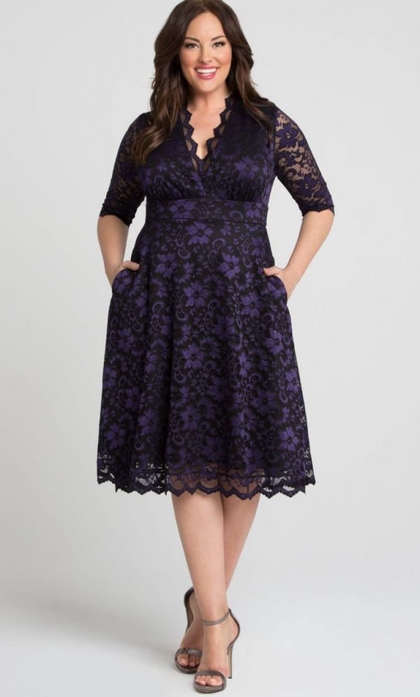 Kiyonna Womens Plus Size Mon Cherie Lace Dress Violet Noir